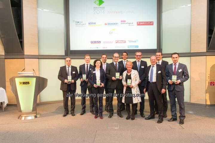 Zertifikate Award Austria, Sieger 2014: RCB-Team (c) Zertifikate Forum Austria