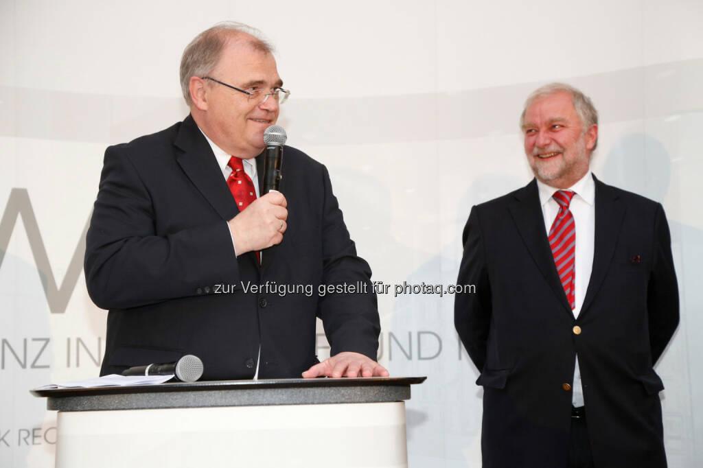 KWR Karasek Wietrzyk Rechtsanwälte GmbH: 10 Jahre KWR mit Wolfgang Brandstetter (Justizminister) und Georg Karasek (Partner, KWR) (c) Ludwig Schedl (18.05.2014)