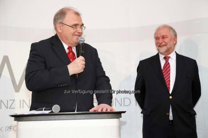 KWR Karasek Wietrzyk Rechtsanwälte GmbH: 10 Jahre KWR mit Wolfgang Brandstetter (Justizminister) und Georg Karasek (Partner, KWR) (c) Ludwig Schedl