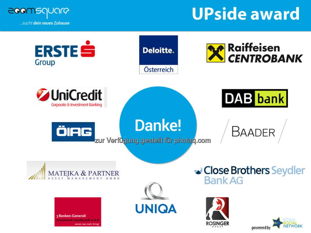 zoomsquare zum UPside award - http://blog.zoomsquare.com/2014/05/zoomsquare-ist-fuer-top-finanzmarkt-experten-viertbestes-startup-ganz-oesterreich/ (18.05.2014)