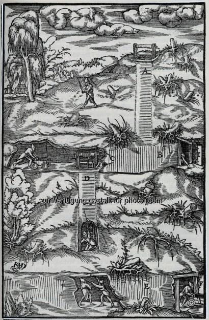 Bergwerksansicht, Holzstich aus Georgius Agricola, De re metallica. Privatbesitz.  (18.05.2014)