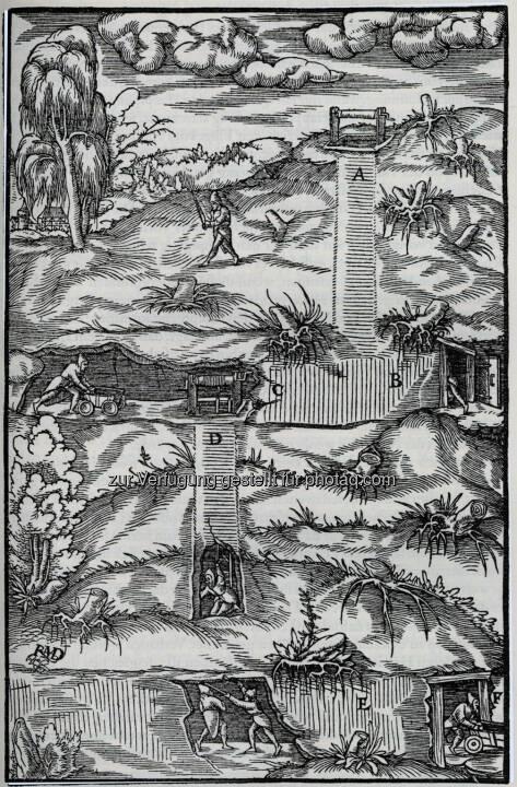 Bergwerksansicht, Holzstich aus Georgius Agricola, De re metallica. Privatbesitz.