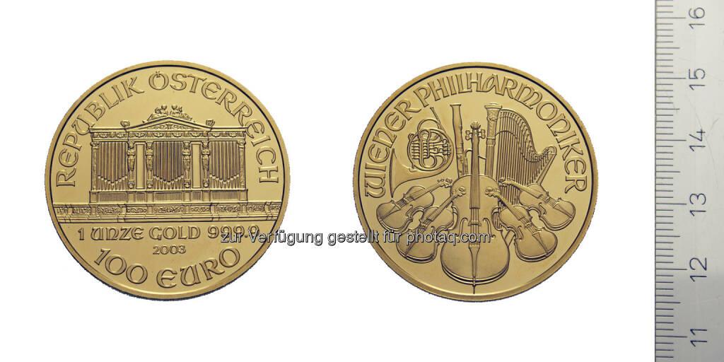 100 Euro Wiener Philharmoniker, Österreich, Wien, 2003, Gold (18.05.2014)