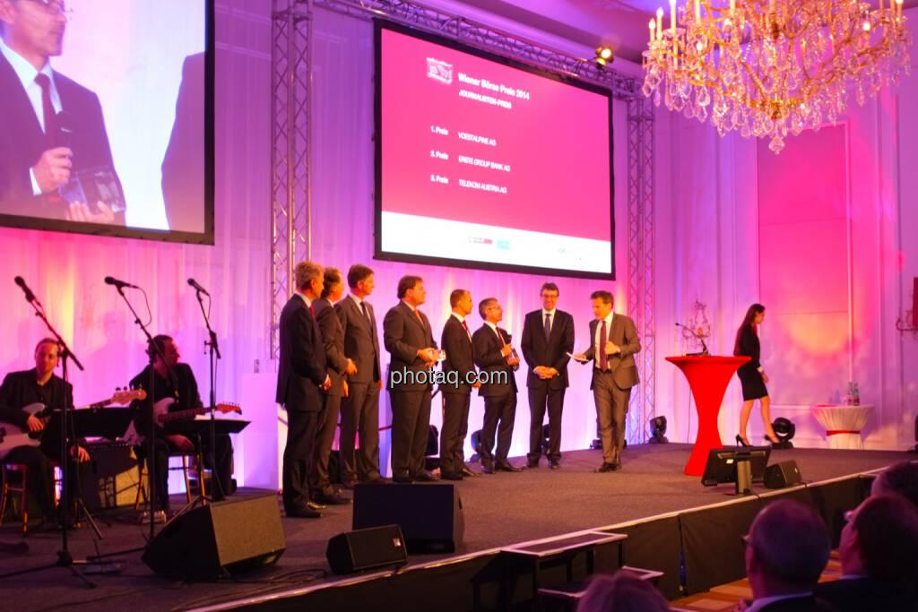 Journalisten-Preis  1. Platz: voestalpine AG  2. Platz: Erste Group Bank AG  3. Platz: Telekom Austria AG, © Drastil / bzw. Wiener Börse (2) (20.05.2014)