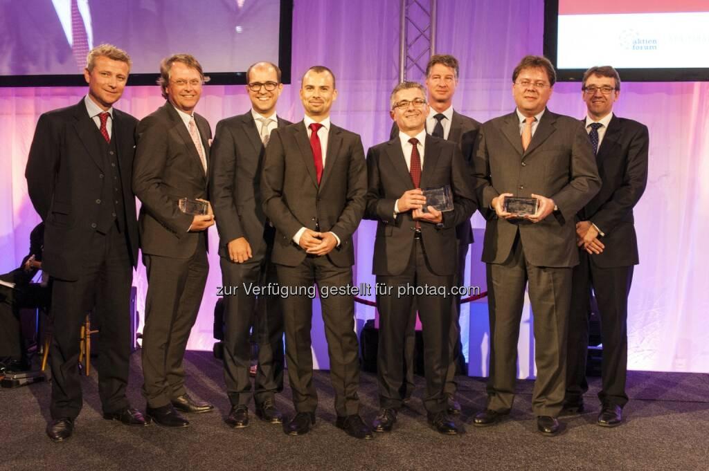 Erstmalig verliehener Wiener Börse-Journalistenpreis geht an voestalpine - Wolfgang Nedomansky (APA-Finance), Hans Tschuden (Telekom Austria), Peter Schiefer (Telekom Austria), Peter Felsbach (voestalpine), Herbert Eibensteiner (voestalpine), Michael Mauritz (Erste Group), Gernot Mittendorfer (Erste Group), Harald Hagenauer (C.I.R.A.)  (c) APA, © Aussendung (21.05.2014)