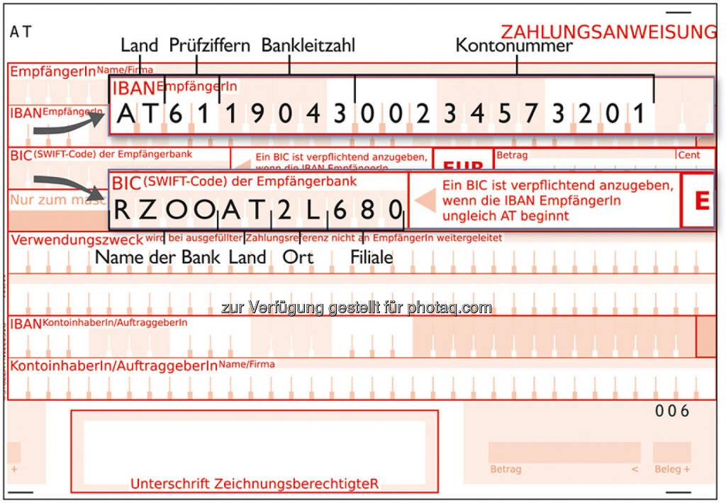 Zahlungsanweisung BIC IBAN, © OeNB (25.05.2014)