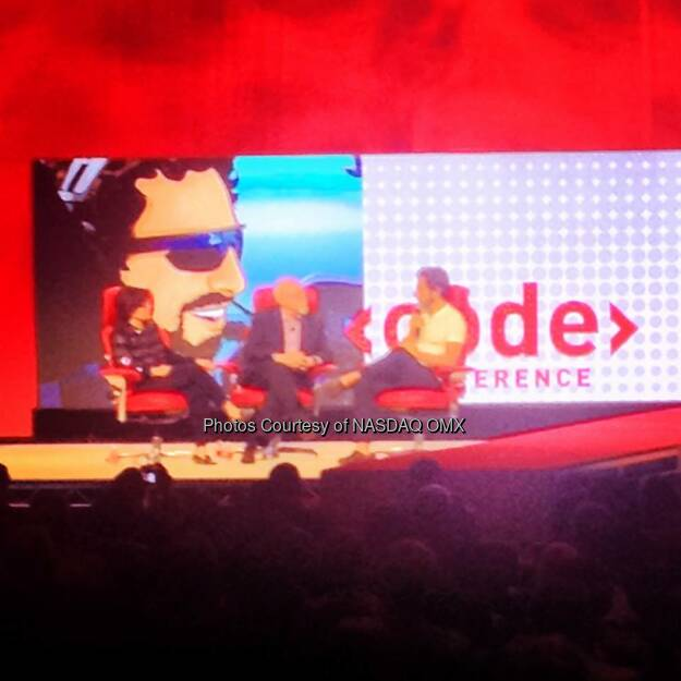 @Google co-founder Sergey Brin on stage to close out the opening night session at CodeCon. Source: http://facebook.com/NASDAQ (28.05.2014)
