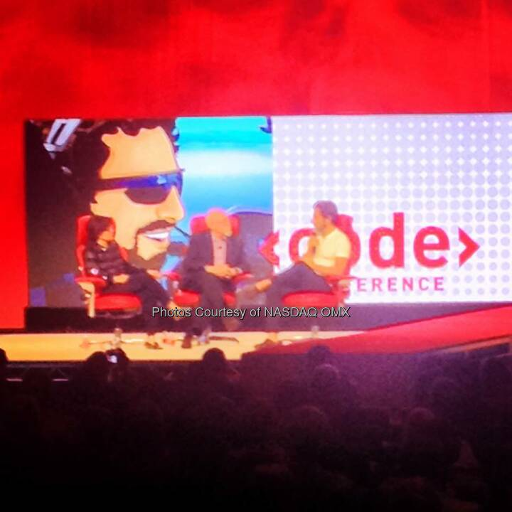 @Google co-founder Sergey Brin on stage to close out the opening night session at CodeCon. Source: http://facebook.com/NASDAQ