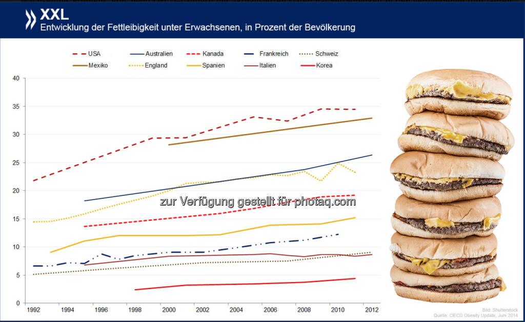 Wachsendes Problem: Von zwölf OECD-Ländern mit aktualisierten Daten hat Fettleibigkeit in den vergangenen fünf Jahren kaum irgendwo so stark zugenommen wie in der Schweiz. Insgesamt sind hier mit neun Prozent der Erwachsenen allerdings noch immer weit weniger Menschen adipös als im OECD-Schnitt.  Mehr Infos zum Thema findet Ihr unter: http://bit.ly/1wkgbbF, © OECD (28.05.2014)