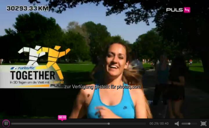 Bianca Schwarzjirg, Puls4: Zwischen dem 02. und 30. Juni ziehen wir uns die Laufschuhe an und rennen zusammen einmal um die ganze Welt. Jeder der mitläuft kann tolle Preise gewinnen. Alle Infos zur Aktion gibt es hier: http://www.puls4.com/cafepuls/runtastic-TOGETHER/artikel/13965