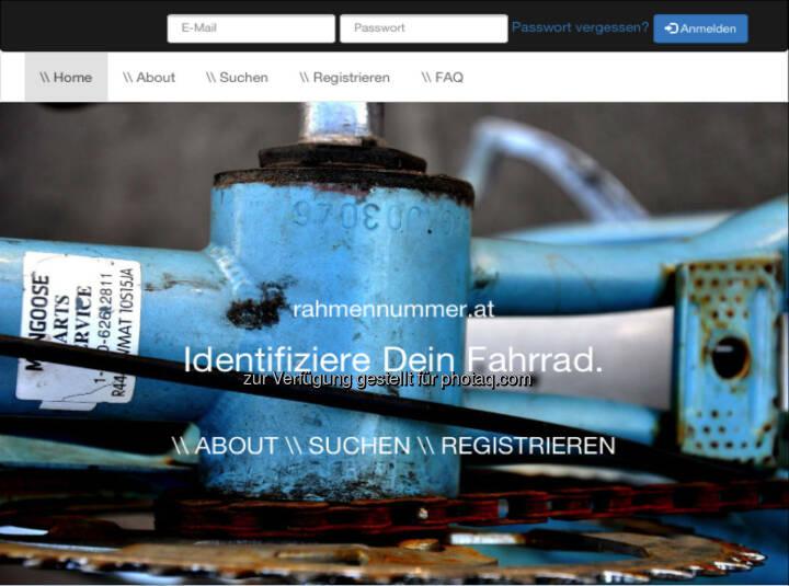 Identifiziere Dein Fahrrad - www.rahmennummer.at , ein privates Projekt von Daniel Folian (Warimpex), siehe hier http://www.christian-drastil.com/2014/06/01/rahmennummerat_soll_fahrraddieben_den_wiederverkauf_erschweren_und_ist_ein_produkt_von_daniel_folian_warimpex
