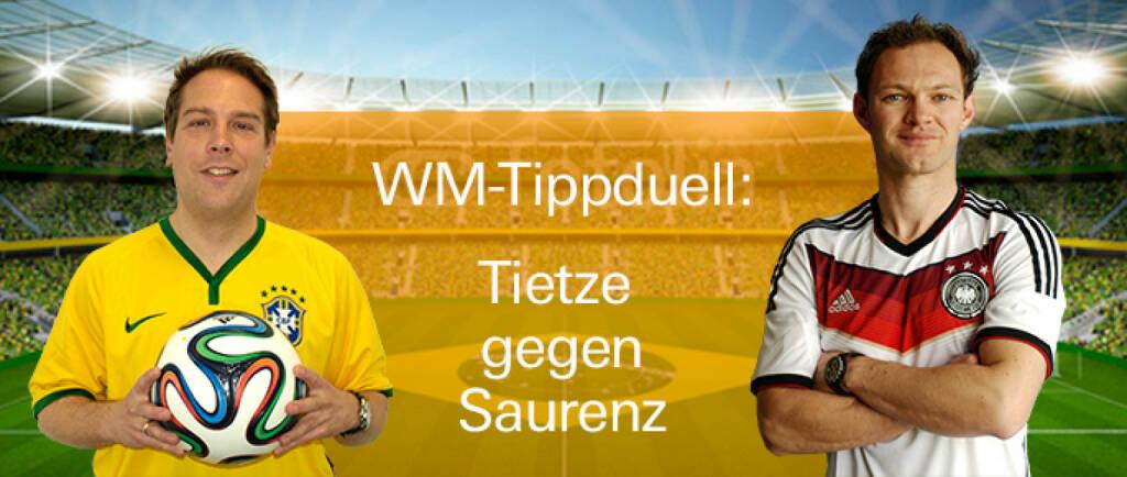 Nicolai Tietze vom Xmarkets-Produkt-Team und Daniel Saurenz von Feingold Research geben sich während der WM ein ausgeklügeltes Tipp-Duell https://www.xmarkets.db.com/DE/WM_Tippspiel (02.06.2014)