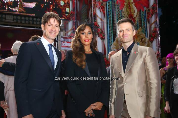 Axel Dreher, Leona Lewis, Thomas Melzer: Leona Lewis, a superstar both on stage and in person.  Here in a collection of memorable moments with Wolford at the Life Ball 2014.  Source: http://facebook.com/WolfordFashion