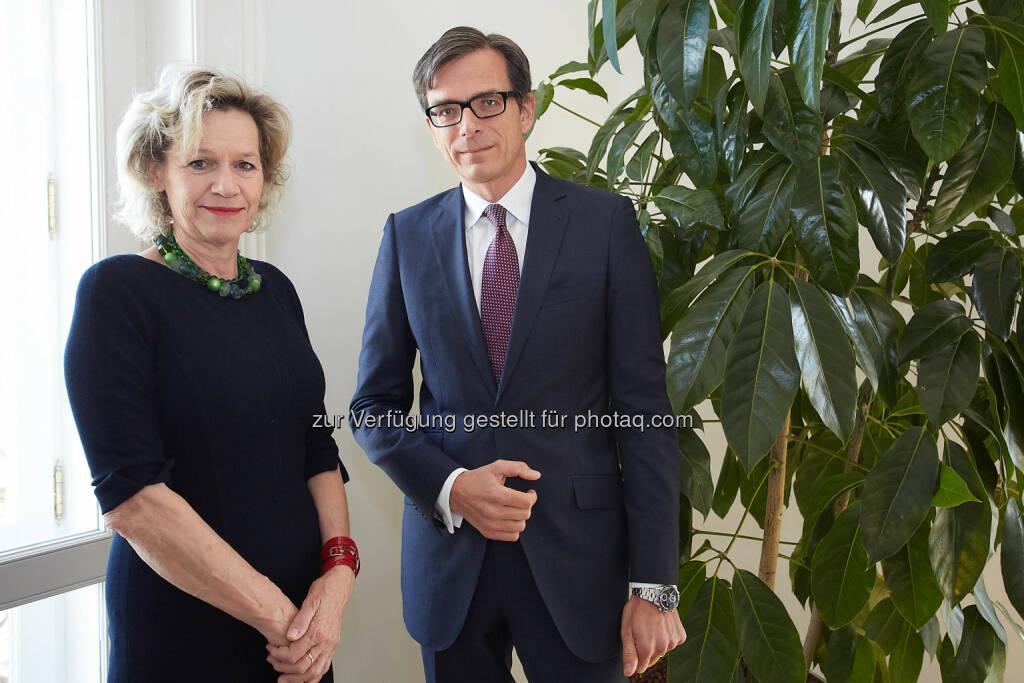 Viktoria Kickinger, Geschäftsführerin von Inara, Initiative AufsichtsRäte Austria und Michael Junghans, Vorsitzender der Geschäftsführung der B&C Industrieholding, © B&C Gruppe/APA-Fotoservice/Preiss (04.06.2014)