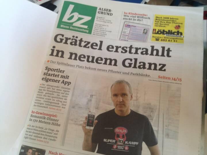 Runplugged am Cover der Bezirkszeitung Alsergrund, Ausgabe 23/2014 , siehe http://www.meinbezirk.at/wien-09-alsergrund/chronik/neue-app-aus-dem-alsergrund-d970275.html