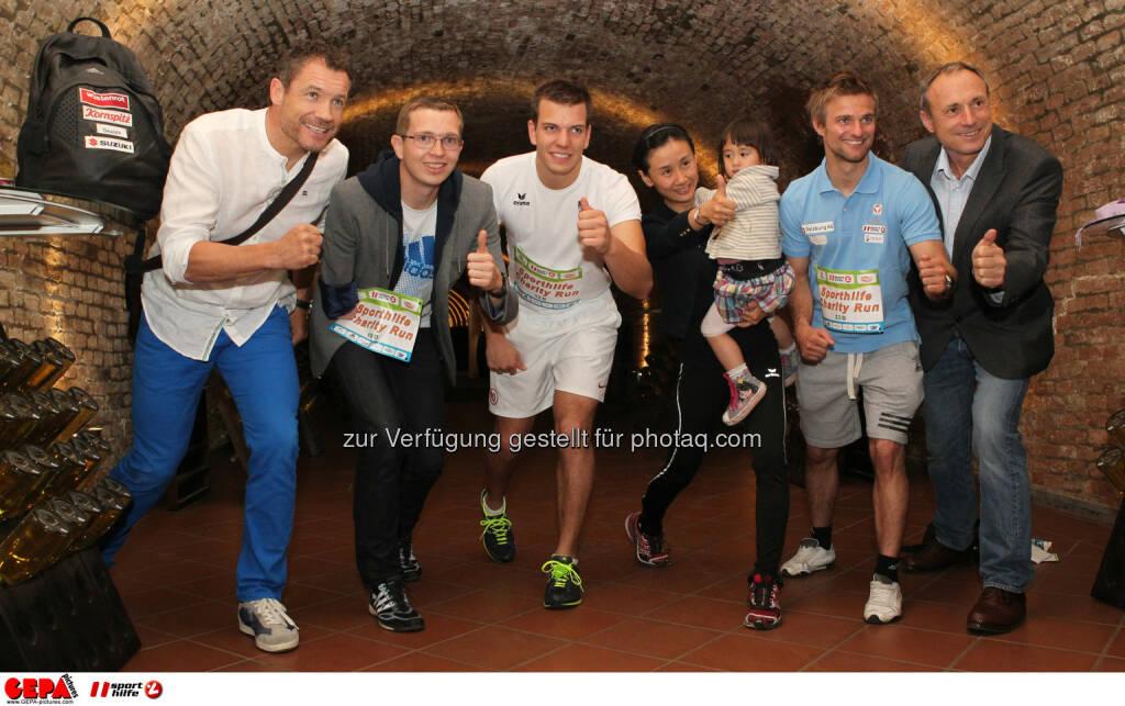 Armin Assinger, Guenther Matzinger, Markus Salcher, Liu Jia, Ludwig Paischer (AUT) und Anton Schutti (Sporthilfe). Foto: GEPA pictures/ Philipp Brem (04.06.2014)