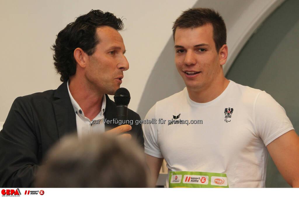 Moderator Tom Walek und Markus Salcher (AUT). Foto: GEPA pictures/ Philipp Brem (04.06.2014)