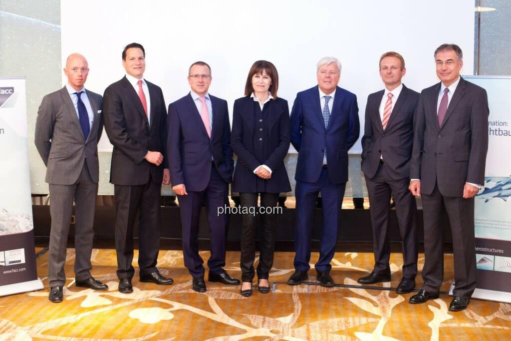 Lars Rueckert (Morgan Stanley), Stefan Weiner (JP Morgan); Robert Machtlinger (COO FACC); Birgit Kuras (Börse Wien); Walter A. Stephan (CEO FACC); Andreas Schoberleitner (COO FACC); Friedrich Mostböck (Erste Group) , © photaq/Michi Mejta (04.06.2014)
