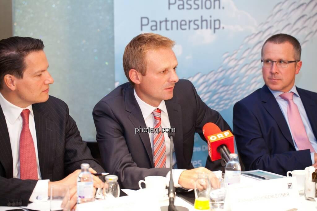 Stefan Weiner (JP Morgan), Andreas Schoberleitner (COO FACC), Robert Machtlinger (COO FACC), © photaq/Michi Mejta (04.06.2014)