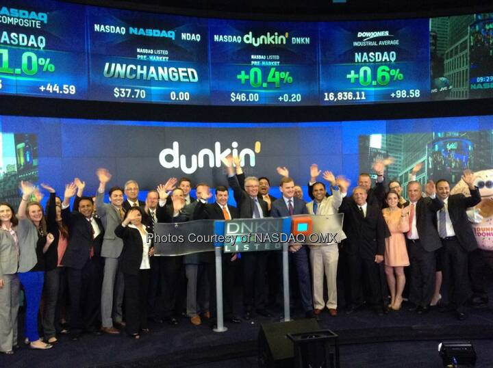 Dunkin' Brands celebrates NationalDonutDay by ringing the Nasdaq Opening Bell! $DNKN  Source: http://facebook.com/NASDAQ