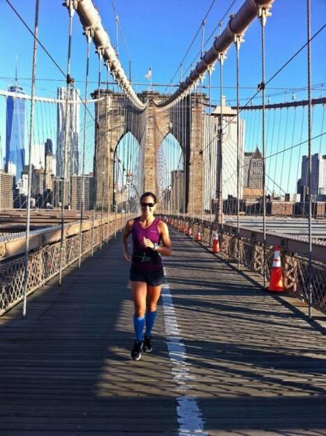 Monika Kalbacher in New York: Brooklyn Bridge gestartet, danach gings Richtung Norden entlang des Hudson Rivers und retour durch den Central Park  https://www.facebook.com/kalbacher.monika (08.06.2014)