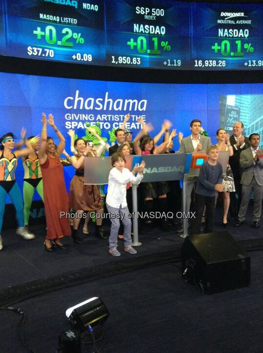 @chashama brought a cast of characters to ring the Nasdaq Closing Bell! Source: http://facebook.com/NASDAQ