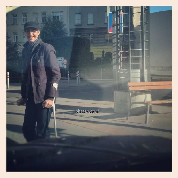 Josef Chladek - 89 Tagen auf Krücken in 2012, abgesehen von diesem Malheur ein grossartiges Jahr. Bild: Kriegsveteranenfotograf Drastil, © beigestellt (30.12.2012)