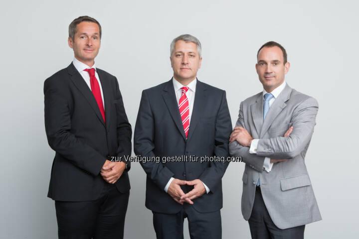 Generali Gruppe Österreich: Der neue Vorstand der Europäischen Reiseversicherung: Vorstandsvorsitzender Wolfgang Lackner (Mitte) mit Andreas Sturmlechner (links) und Jean-Francois Diet.