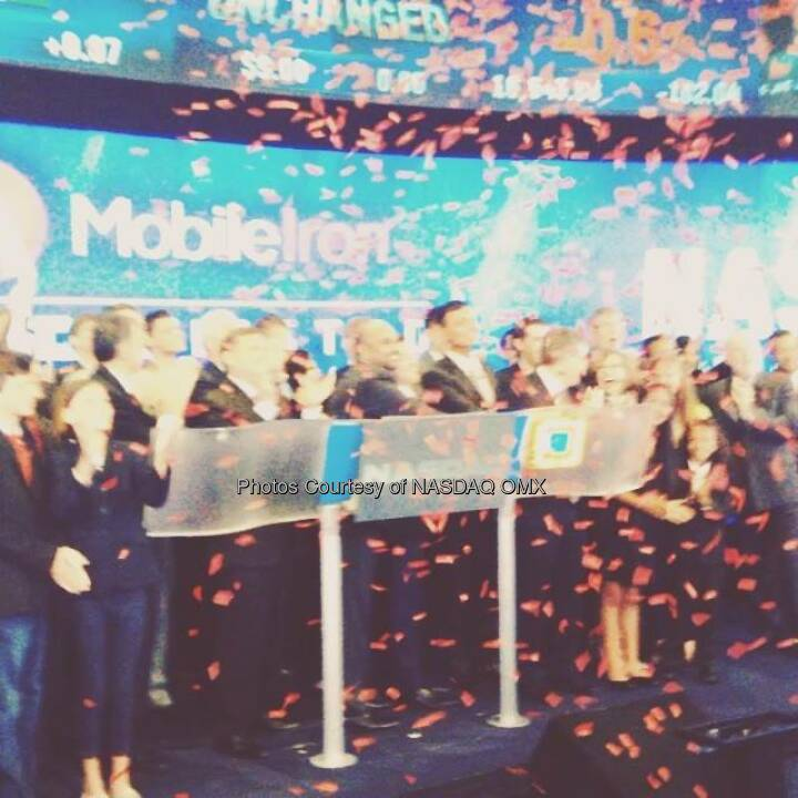 Confetti flies shortly after MobileIron rings the Nasdaq Opening Bell in celebration of IPO. $MOBL  Source: http://facebook.com/NASDAQ