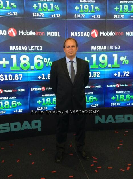 Stephan was MobileIron's very first customer! He's at Nasdaq in celebration of IPO Source: http://facebook.com/NASDAQ (12.06.2014)