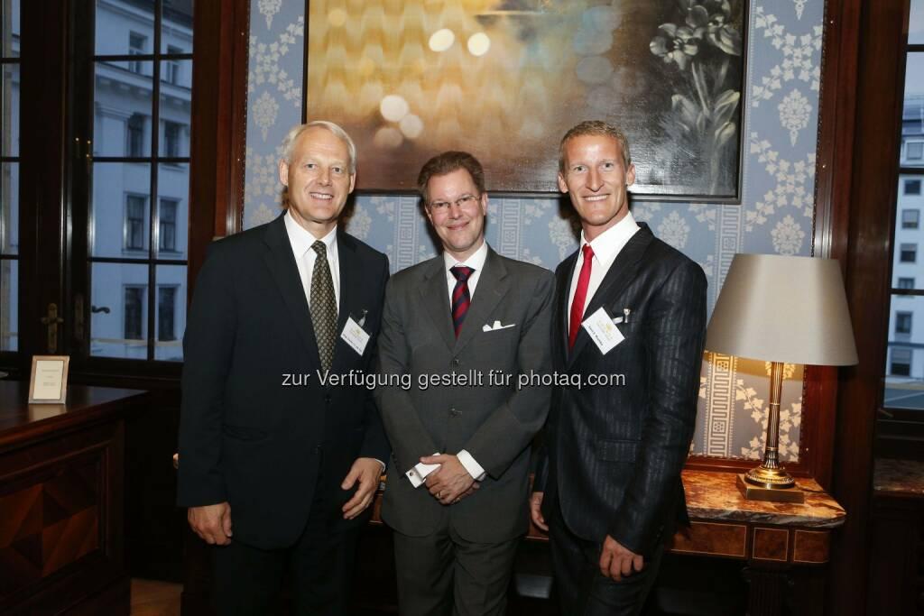 Jahresveranstaltung der Kronos Advisory: Charles van Erp (Kronos), Johannes Aehrenthal (CHSH Cerha Hempel Spiegelfeld Hlawati), Sven E. Rischko (CHSH Cerha Hempel Spiegelfeld Hlawati) (12.06.2014)