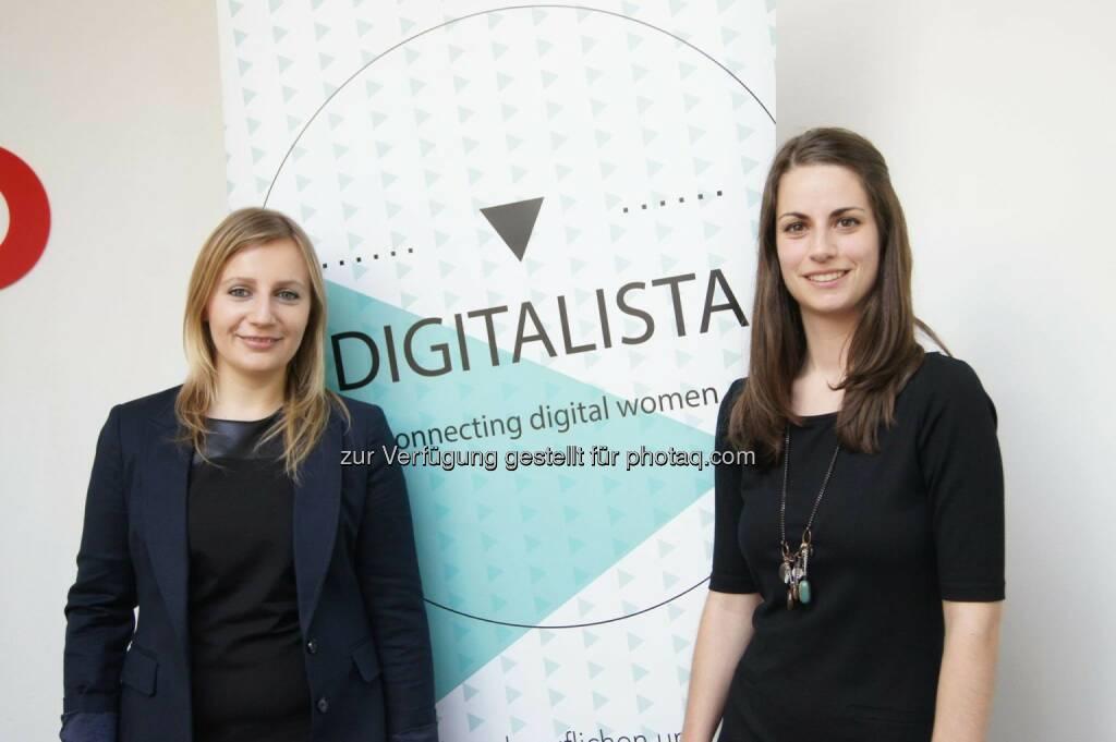 Elisabeth Oberndorfer (Digitalista), Eva Oberecker (MindTake Research): Digitalista hat bei einem Pressegespräch die Studie zur österreichischen Digital-Branche vorgestellt. Foto (c) Digitalista Teresa Hammerl  (13.06.2014)