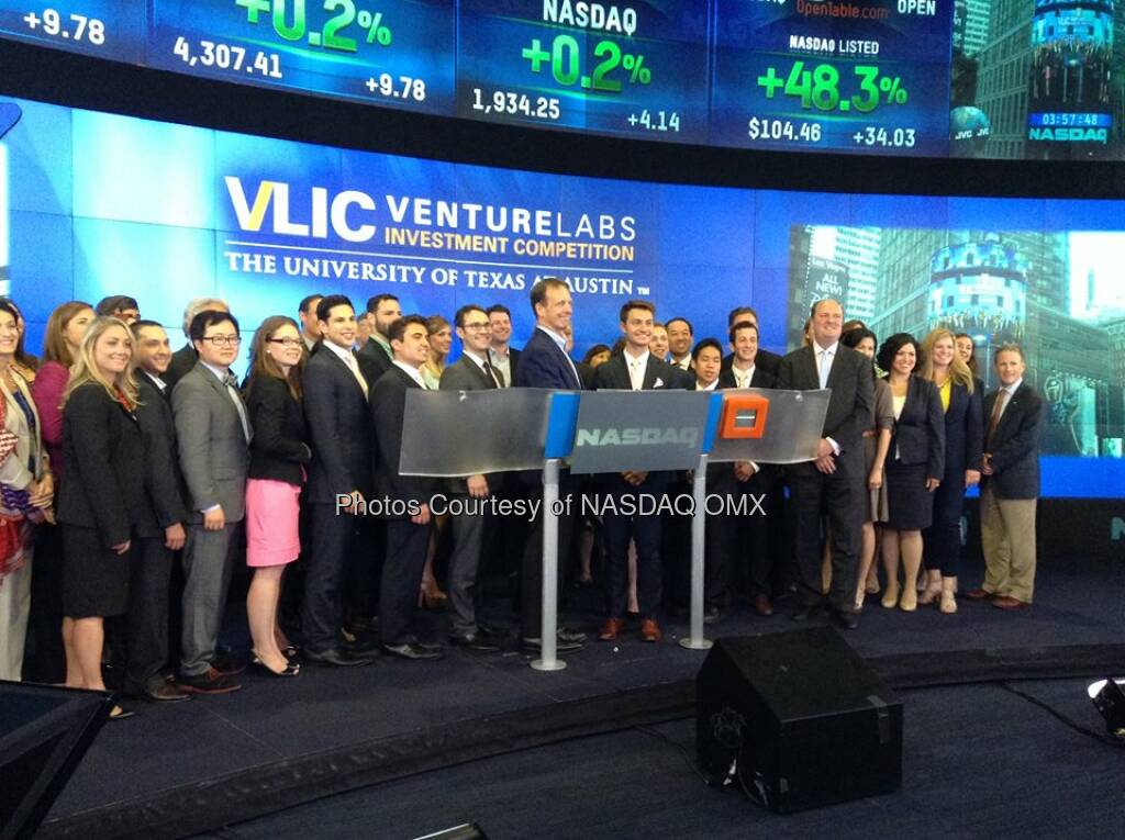 University of Texas at Austin Venture Labs Investment Competition rings the Nasdaq Closing Bell!  Source: http://facebook.com/NASDAQ (14.06.2014)
