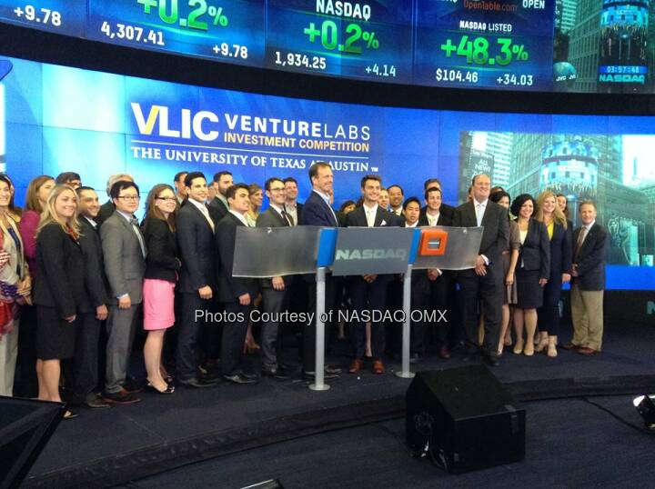 University of Texas at Austin Venture Labs Investment Competition rings the Nasdaq Closing Bell!  Source: http://facebook.com/NASDAQ