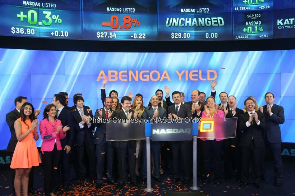 Abengoa Yield (Nasdaq:ABY), a dividend growth-oriented company formed to serve as the primary vehicle through which Abengoa will own, manage and acquire renewable energy, conventional power and electric transmission lines and other contracted revenue-generating assets, visited the Nasdaq MarketSite in Times Square in celebration of its initial public offering (IPO) which occurred on The NASDAQ Stock Market today, June 13.  Source: http://facebook.com/NASDAQ (14.06.2014)
