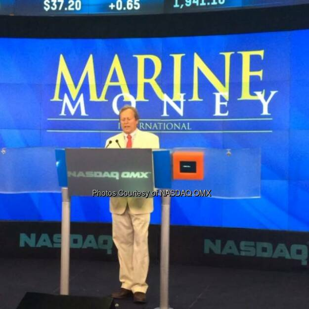 Jim Lawrence, Chairman of marinemoney before the Nasdaq Closing Bell.  Source: http://facebook.com/NASDAQ (18.06.2014)