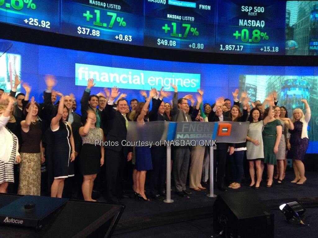 Financial Engines rings the Nasdaq ClosingBell! Source: http://facebook.com/NASDAQ (19.06.2014)
