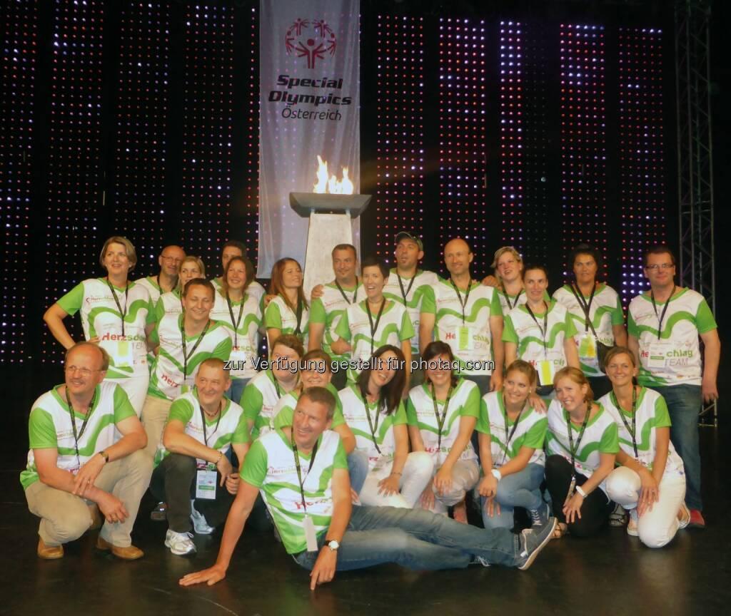 Würth Handelsges.m.b.H.: Würth Österreich beweist Herzschlag - das Würth Volunteers Team mit Geschäftsführer Willi Trumler bei den Special Olympics Sommerspielen Herzschlag 2014 (19.06.2014)