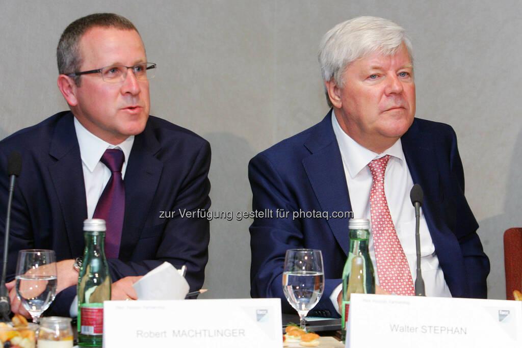Robert Machtlinger (Vorstand Technik, FACC), Walter Stephan (Vorstandsvorsitzender, FACC) (Bild: Peter Hautzinger) (24.06.2014)