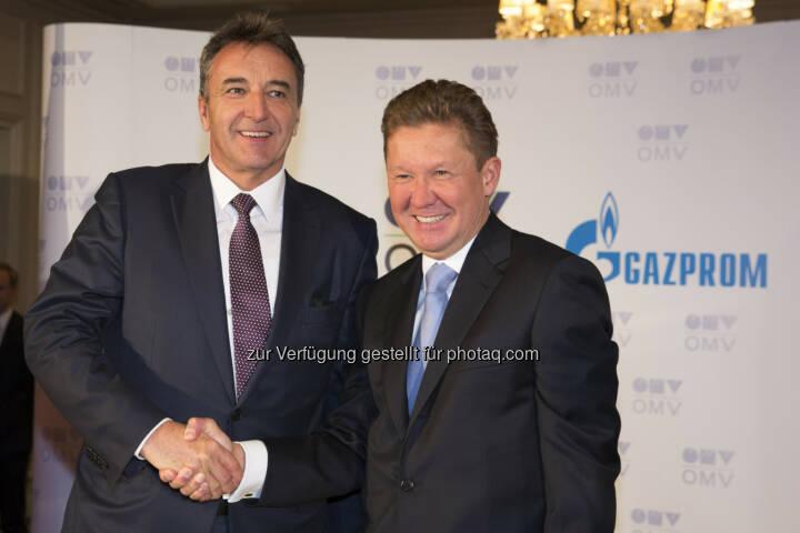 Gerhard Roiss, Generaldirektor der OMV und Alexey Miller, Vorstand des Gazprom Management Committee -  Anlässlich des Besuchs des russischen Staatspräsidenten Vladimir Putin wurde heute in Wien die Aktionärsvereinbarung für die South Stream Austria GmbH unterzeichnet (Bild: OMV)