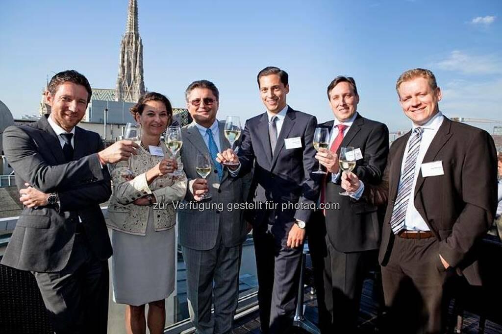 Thomas Schaufler (Erste AM), Carola Weibel (Reiter Immobilien), Karl-Heinz Strauss (Porr), Dominic Hojas (Der Börsianer), Bernhard Greifeneder (Bawag PSK Invest), Jörg Rohmann (Alpari) (Bild: DerBörsianer) (25.06.2014)