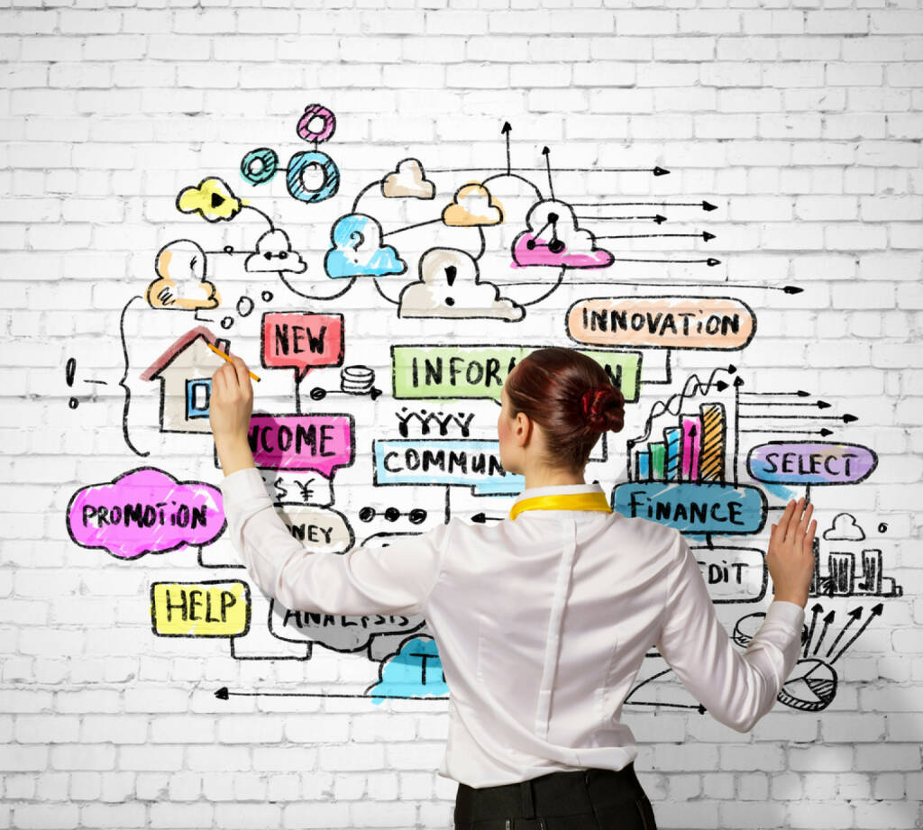 Gründung, neu, Innovation, Start - http://www.shutterstock.com/de/pic-148133702/stock-photo-businesswoman-standing-with-back-drawing-business-ideas-on-wall.html (Bild: shutterstock.com) (25.06.2014)