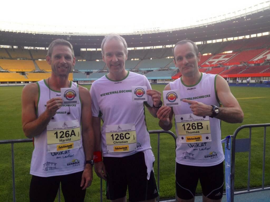Harald Radatz, Christian Drastil, Thomas Pundy: Team Wienerwaldschnecken1 mit Runplugged-Pickerln mit einer Zeit von 58 min. auf 3x5 km auf dem 6. Platz beim LCC-Teamrun (27.06.2014)