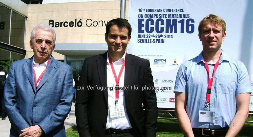 FACC: Vom 22. bis 26. Juni fand in Sevilla die 16th European Conference on Composite Materials (ECCM16), eine der wichtigsten Konferenzen auf diesem Gebiet, statt. Luciano Brambilla, Konstantin Horejsi und Johannes Plewa hielten als Vertreter der FACC vor mehr als 1100 Teilnehmern zwei Vorträge., © Aussender (30.06.2014)
