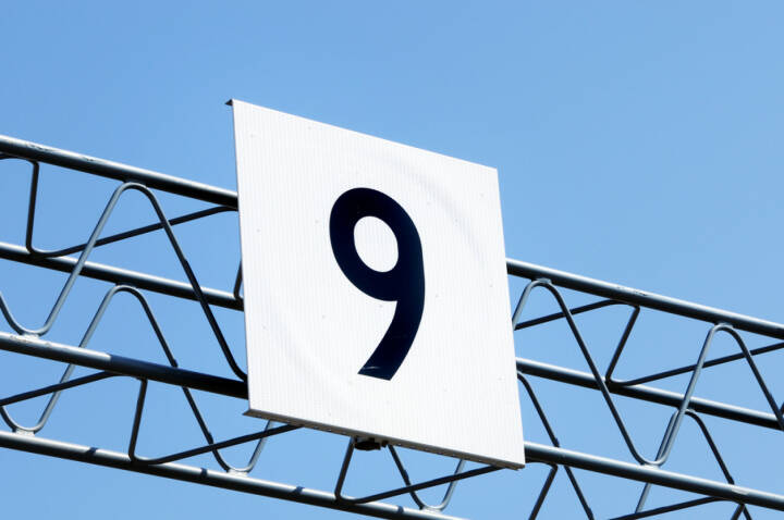 9, Neun, http://www.shutterstock.com/de/pic-118340230/stock-photo-sign-with-number.html