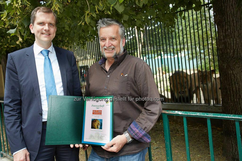 Roel Huisman, CEO der ING-DiBa Direktbank Austria und der Stv. Dir. des Tiergartens Schönbrunn Harald Schwammer (Bild: Thomas Preiss) (07.07.2014)