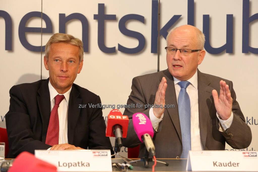 ÖVP Parlamentsklub: CDU/CSU und ÖVP gemeinsam für Wachstum und Stabilität in Europa: ÖVP Klubobmann Reinhold Lopatka und CDU/CSU-Fraktionschef Volker Kauder (07.07.2014)