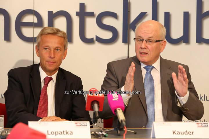 ÖVP Parlamentsklub: CDU/CSU und ÖVP gemeinsam für Wachstum und Stabilität in Europa: ÖVP Klubobmann Reinhold Lopatka und CDU/CSU-Fraktionschef Volker Kauder