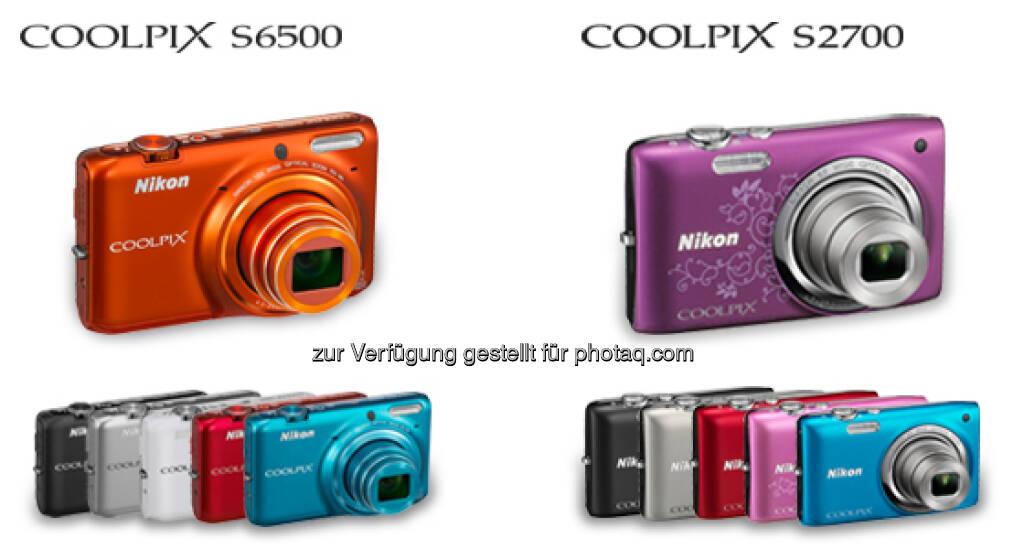 Coolpix-Kompaktkameras um zwei Modelle erweitert: S6500 (integrierte Wi-Fi-Funktion) und S2700 (09.01.2013)