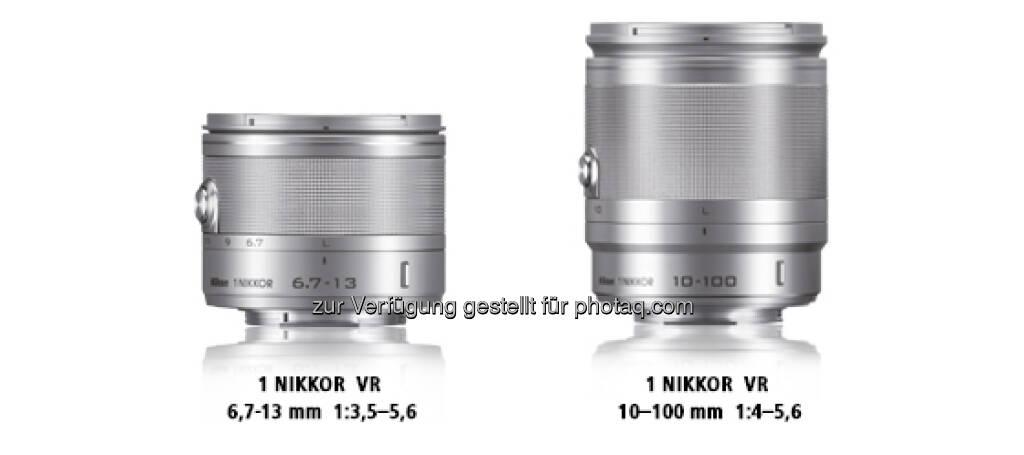 1 Nikkor Objektive: Ultraweitwinkel-Zoomobjektiv 1 Nikkor VR 6,7-13 mm 1:3,5-5,6 und das 10-fach-Zoomobjektiv 1 Nikkor VR 10–100 mm 1:4,0-5,6  (09.01.2013)